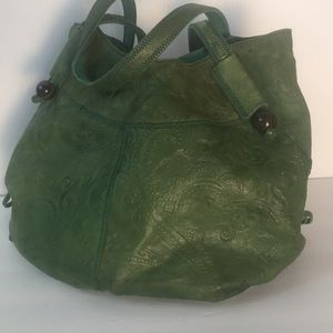Lucky green bohemian leather hobo purse (C4)